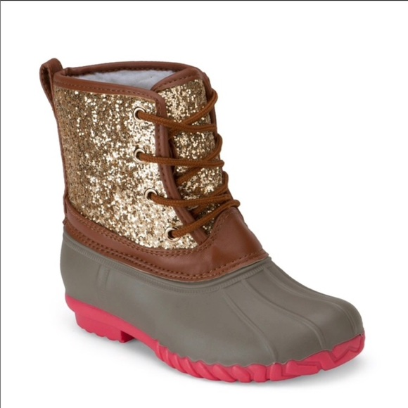 b4764f193870 Green Forest Shoes | Gold Glitter Duck Boots Worn Once Girls Size 4 ...
